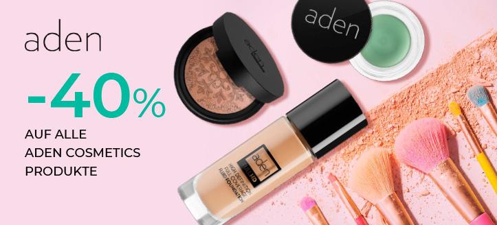 -40% auf alle Aden Cosmetics Produkte. Die Preise auf der Website sind inklusive Rabatt