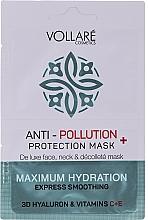 Düfte, Parfümerie und Kosmetik Feuchtigkeitsspendende Tuchmaske mit Hyaluronsäure und Viamin C und E - Vollare Anti-Pollution Protection Mask