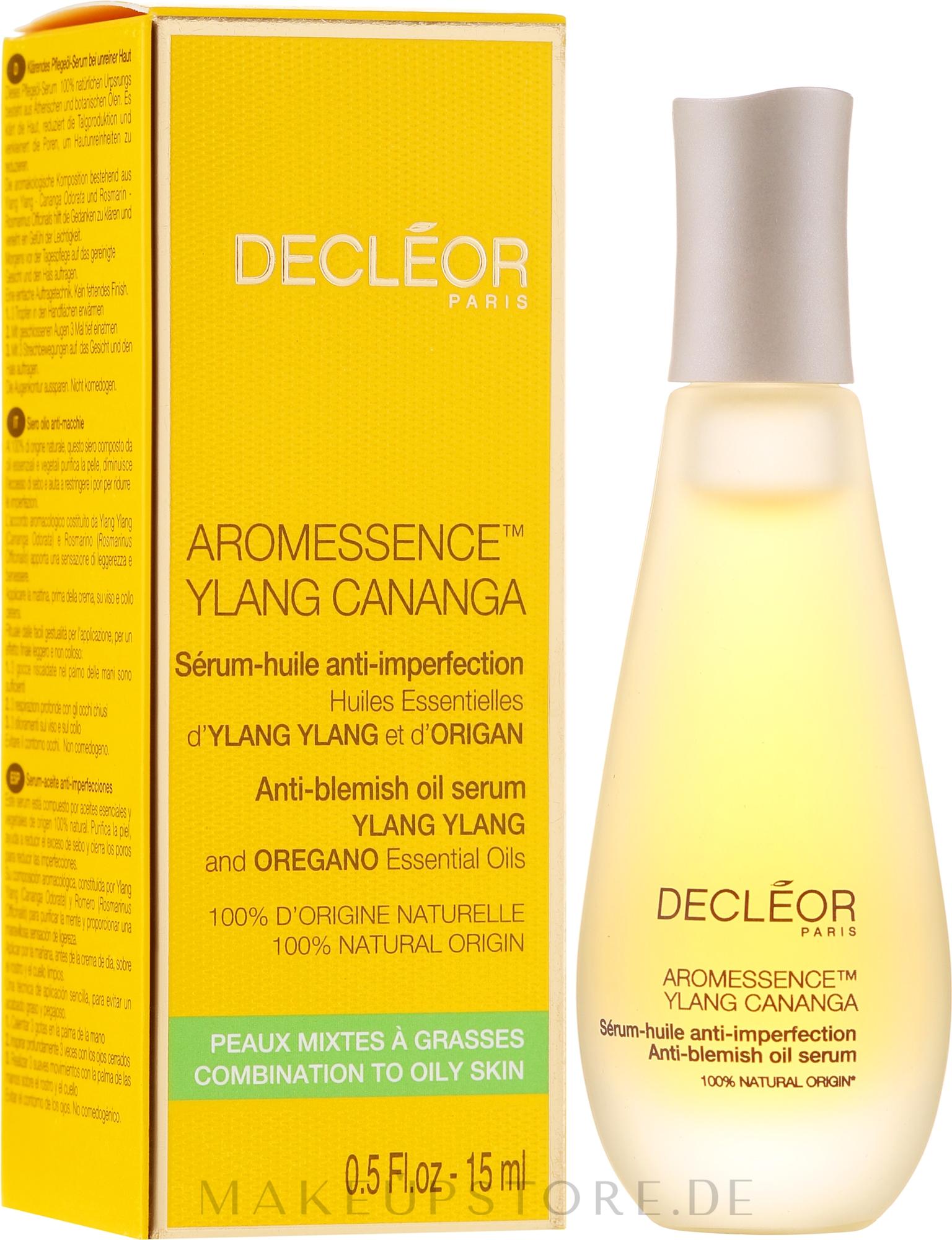 Porenverfeinerndes Gesichtsserum gegen Unvolkommenheiten - Decleor Aromessence Ylang Cananga Oil Serum — Bild 15 ml