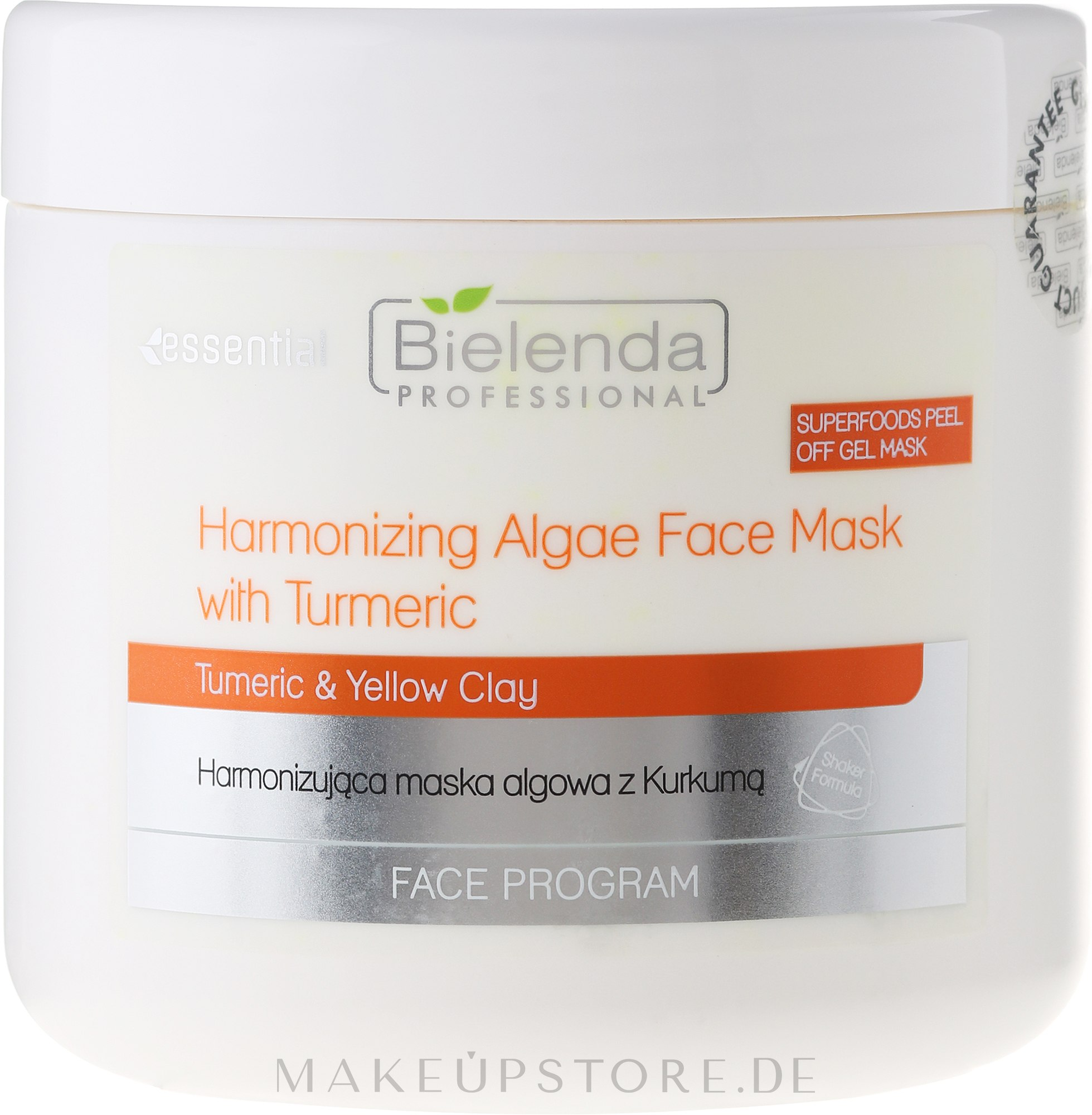 Regenerierende Kurkuma-Gesichtsmaske für strahlende Haut - Bielenda Professional Face Program Harmonizing Algae Face Mask With Turmeric — Bild 200 g