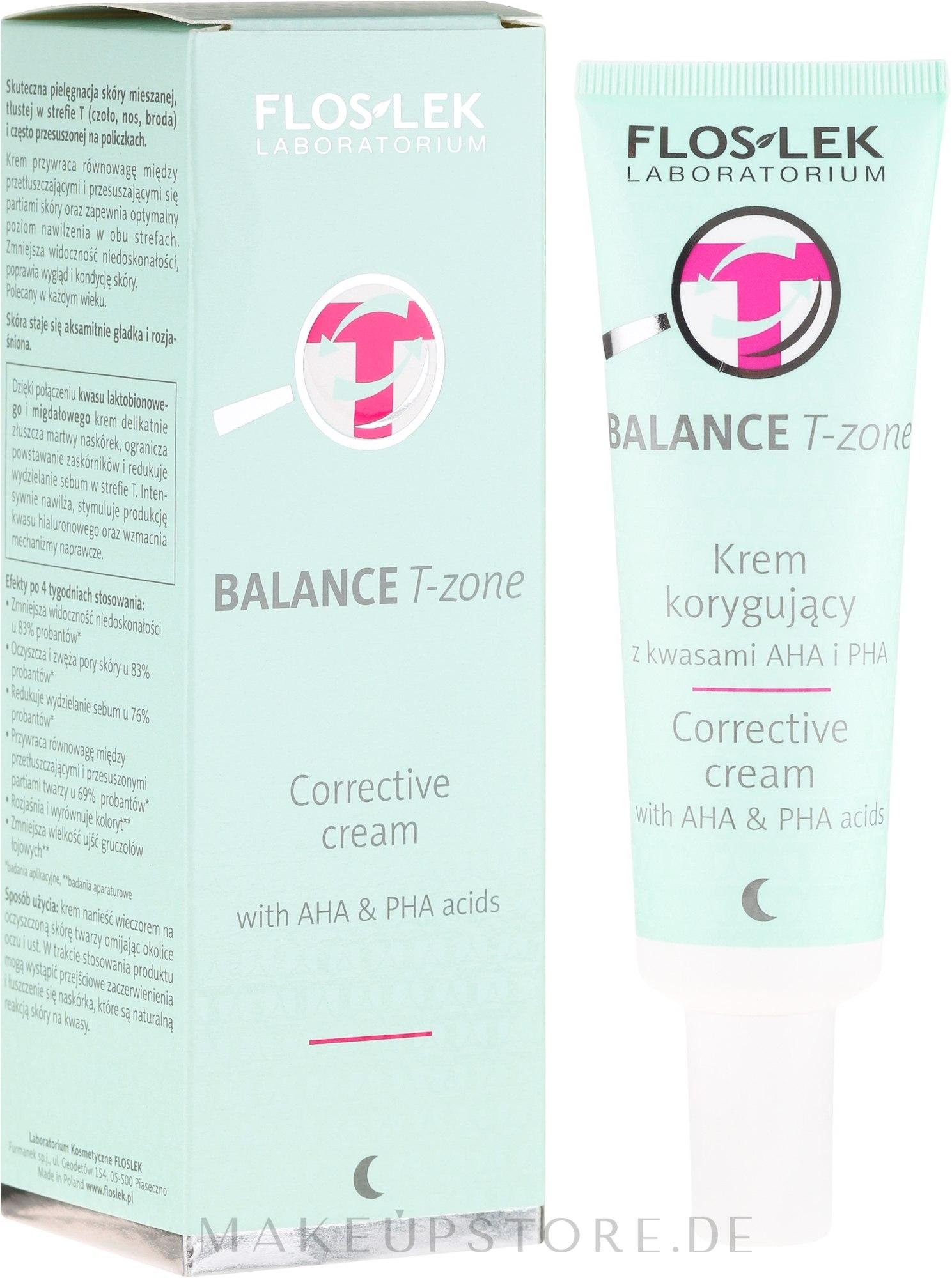 Korrigierende Nachtcreme für die T-Zone mit AHA- und PHA-Säuren - Floslek Balance T-Zone Corrective Cream — Bild 50 ml