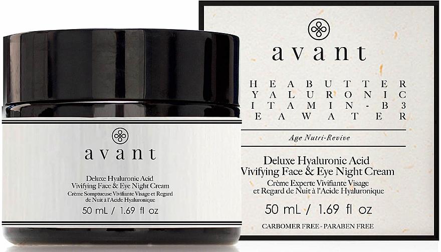 Belebende Gesichts- und Augencreme für die Nacht mit Hylauronsäure - Avant Skincare Deluxe Hyaluronic Acid Night Cream — Bild N1