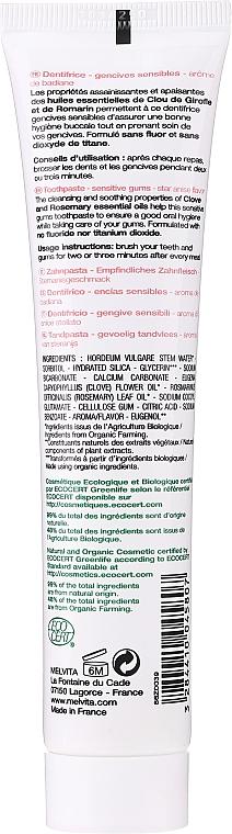 Beruhigende Zahnpasta zur Stärkung des Zahnfleisches mit Nelken-, Salbei-, Rosmarin- und Sternanisöl - Melvita Dentifrice Sensitive Gums Toothpaste — Bild N2