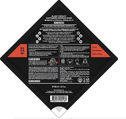 Tuchmaske gegen große Poren und fettige Haut mit Lotus, Camu-Camu und Glutathion - Duft & Doft Black Therapy Customized Refining Mask — Bild N4