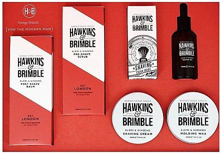Bartpflege Set - Hawkins & Brimble Set (After-Shave Balsam 125ml + Bartpeeling 125ml + Bartöl 50ml+ Rasiercreme 100ml + Haarwachs 100ml + Rasierpinsel) — Bild N1