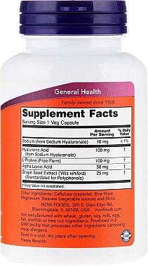 Hyaluronsäure 100 mg 120 Kapseln - Now Foods Hyaluronic Acid 100 mg — Bild N4