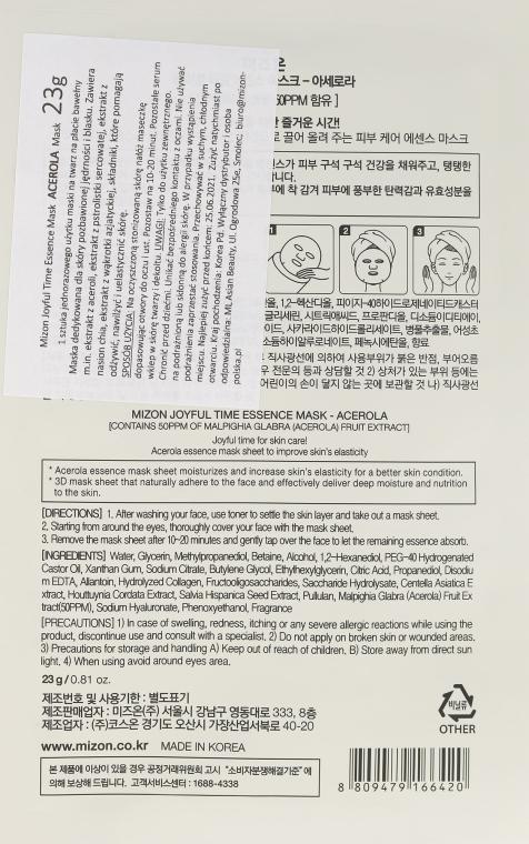 Straffende und heilende Tuchmaske für das Gesicht mit Acerola - Mizon Joyful Time Essence Mask Acerola — Bild N2