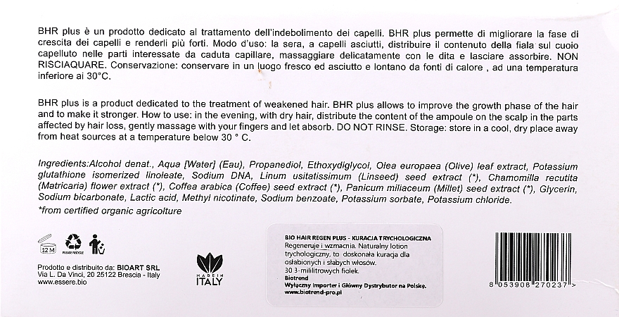 Regenerierende und stärkende Haarampullen für schwaches und strapaziertes Haar 30 St. - Essere Bio Hair Regen — Bild N3