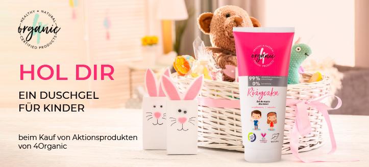 Kaufe ein Duschgel-Shampoo von 4Organic und erhalte ein Duschgel für Kinder geschenkt