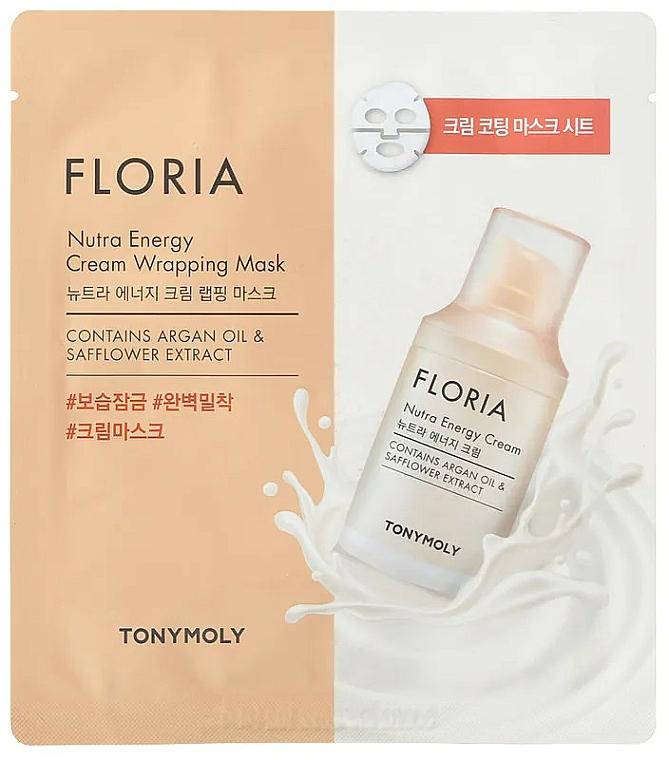 Nährende und energiespendende Tuchmaske für das Gesicht mit Arganöl und Saflorextrakt - Tony Moly Floria Nutra Energy Cream Wrapping Mask — Bild N1