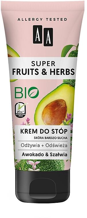 Pflegende und kühlende Fußcreme mit Avocado und Salbei - AA Super Fruits & Herbs