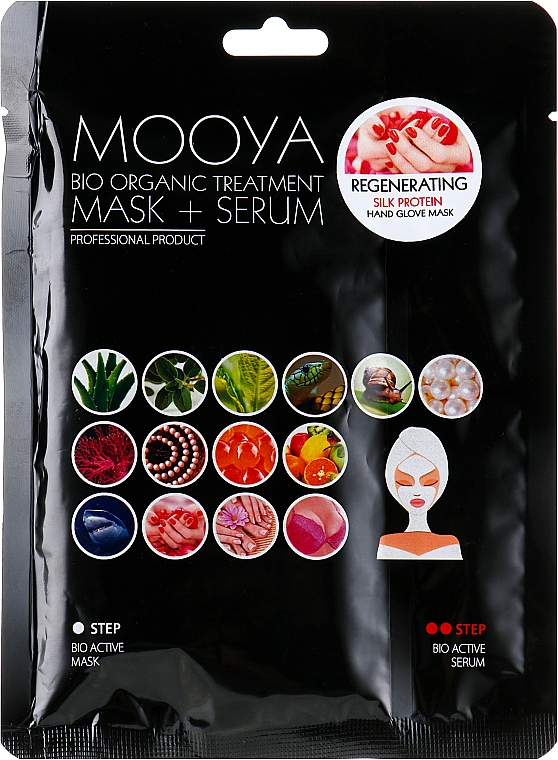 Regenerierende Maske mit Serum in Handschuh-Form mit Seidenproteinen - Beauty Face Mooya Bio Organic Treatment Mask + Serum — Bild N1