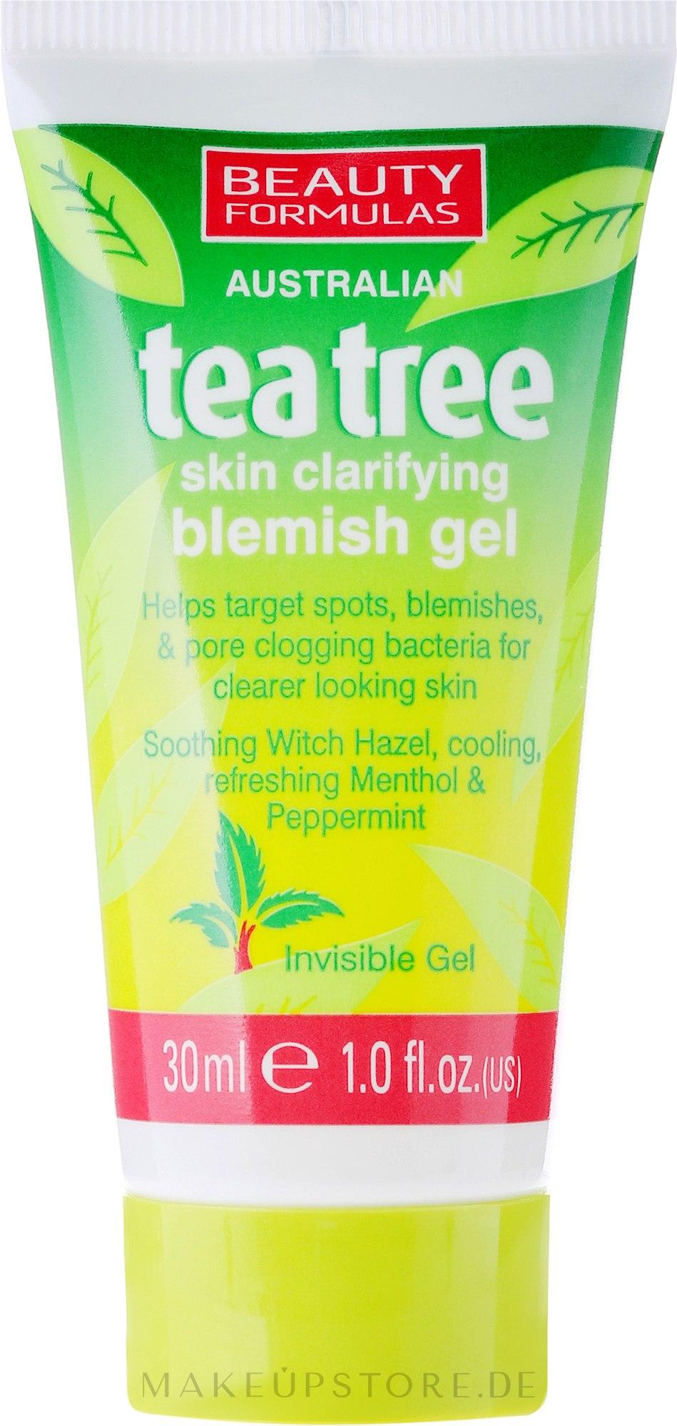 Entzündungshemmendes Gesichtsgel mit Zaubernuss und Pfefferminz - Beauty Formulas Tea Tree Skin Clarifying Blemish Gel — Bild 30 ml