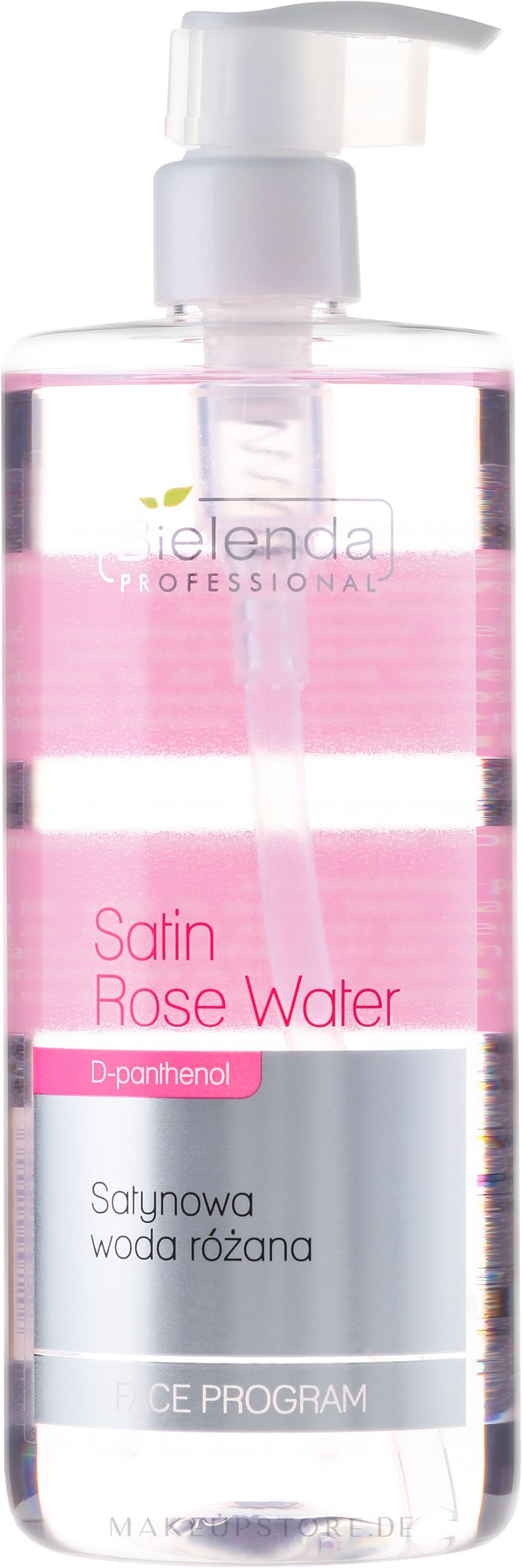 Satin Rosenwasser mit Rosenblütenextrakt, D-Panthenol und Harnstoff - Bielenda Professional Face Program Satin Rose Water — Bild 500 ml