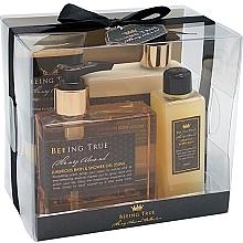 Düfte, Parfümerie und Kosmetik Körperpflegeset - Beeing True (Duschgel 250ml + Duschbalsam 250ml + Badesalz 100ml + Körperpeeling 100ml)