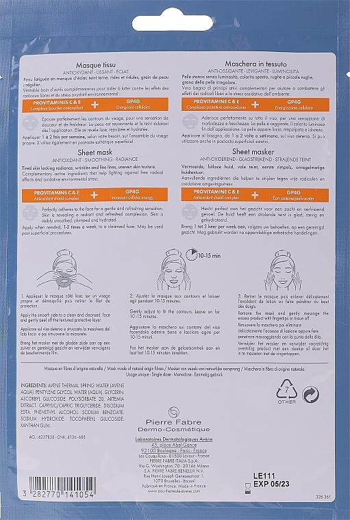 Antioxidative und glättende Tuchmaske mit Provitaminen C und E für strahlende Haut - Avene A-Oxitive Mask — Bild N2