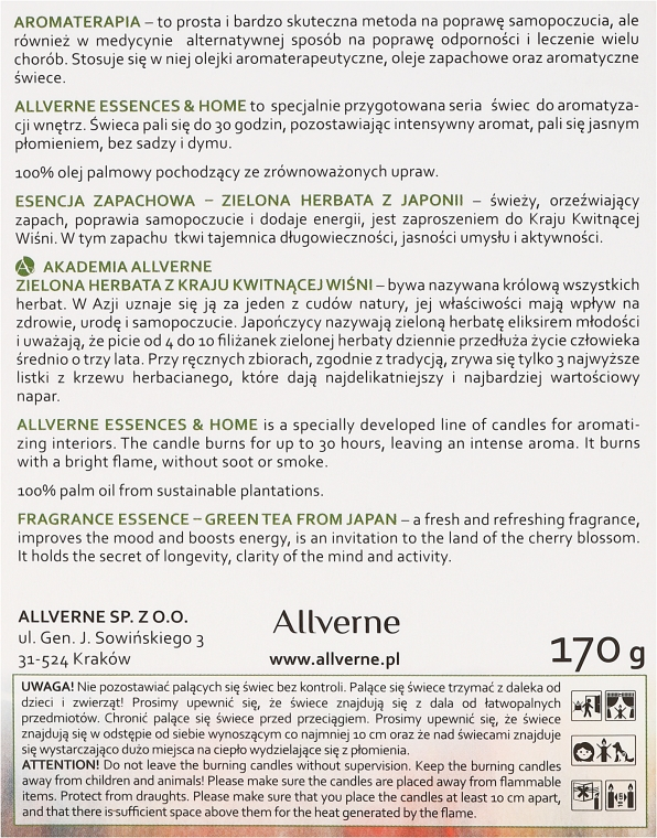 Duftkerze im Glas Green Tea from Japan - Allvernum Home & Essences Candle — Bild N3