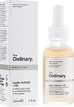 Peeling-Serum für das Gesicht mit Hyaluron- und Milchsäure - The Ordinary Lactic Acid 5% + HA 2% — Bild N1