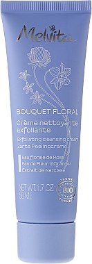 Zarte Peelingcreme für das Gesicht mit Rosen- und Orangenblütenwasser und Narzissenextrakt - Melvita Bouquet Floral Exfoliating Cleansing Cream — Bild N1