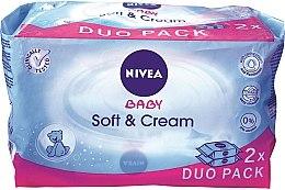 Düfte, Parfümerie und Kosmetik Sanfte und beruhigende Baby-Feuchttücher 2x63 St. - Nivea Baby Soft & Cream