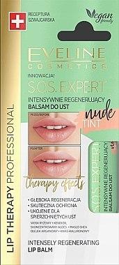 Intensiv regenerierender Lippenbalsam Nude Tint - Eveline Cosmetics Sos Expert Nude Tint Lip Balm — Bild N1