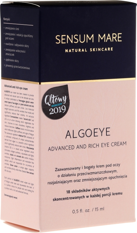 Anti-Falten Augencreme gegen Schwellungen - Sensum Mare Algoeye Advanced And Rich Eye Cream