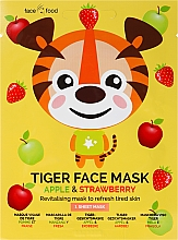 Düfte, Parfümerie und Kosmetik Revitalisierende und erfrischende Tuchmaske für das Gesicht mit Apfel- und Erdbeerextrakt - 7th Heaven Face Food Tiger Face Mask Apple & Strawberry