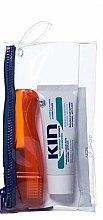 Düfte, Parfümerie und Kosmetik Zahnpflegeset - Kin Travel Kit Orange Brush (Zahnpasta 25ml + Zahnbürste 1 St. + Kosmetiktasche)