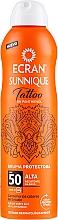 Düfte, Parfümerie und Kosmetik Sonnenschutzspray für tätowierte Haut SPF 50 - Ecran Sunnique Tattoo Protective Mist SPF50