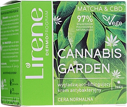 Düfte, Parfümerie und Kosmetik Glättende antibakterielle Tagescreme für das Gesicht mit Lifting-Effekt - Lirene Cannabis Garden Matcha&Cbd Cream