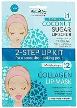 Düfte, Parfümerie und Kosmetik Exfolierendes und feuchtigkeitsspendendes Lippenpflegeset mit Kokosöl und Hyaluronsäure - Derma V10 2 Step Lip Treatment Kit Coconut
