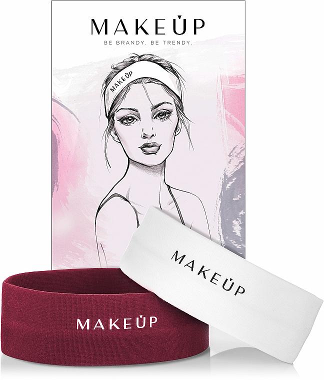 Set Kosmetische Stirnbänder 2 St. - MakeUp Marsala & White