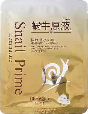 Feuchtigkeitsspendende Tuchmaske für das Gesicht mit Schneckenextrakt - Bioaqua Snail Prime — Bild N1