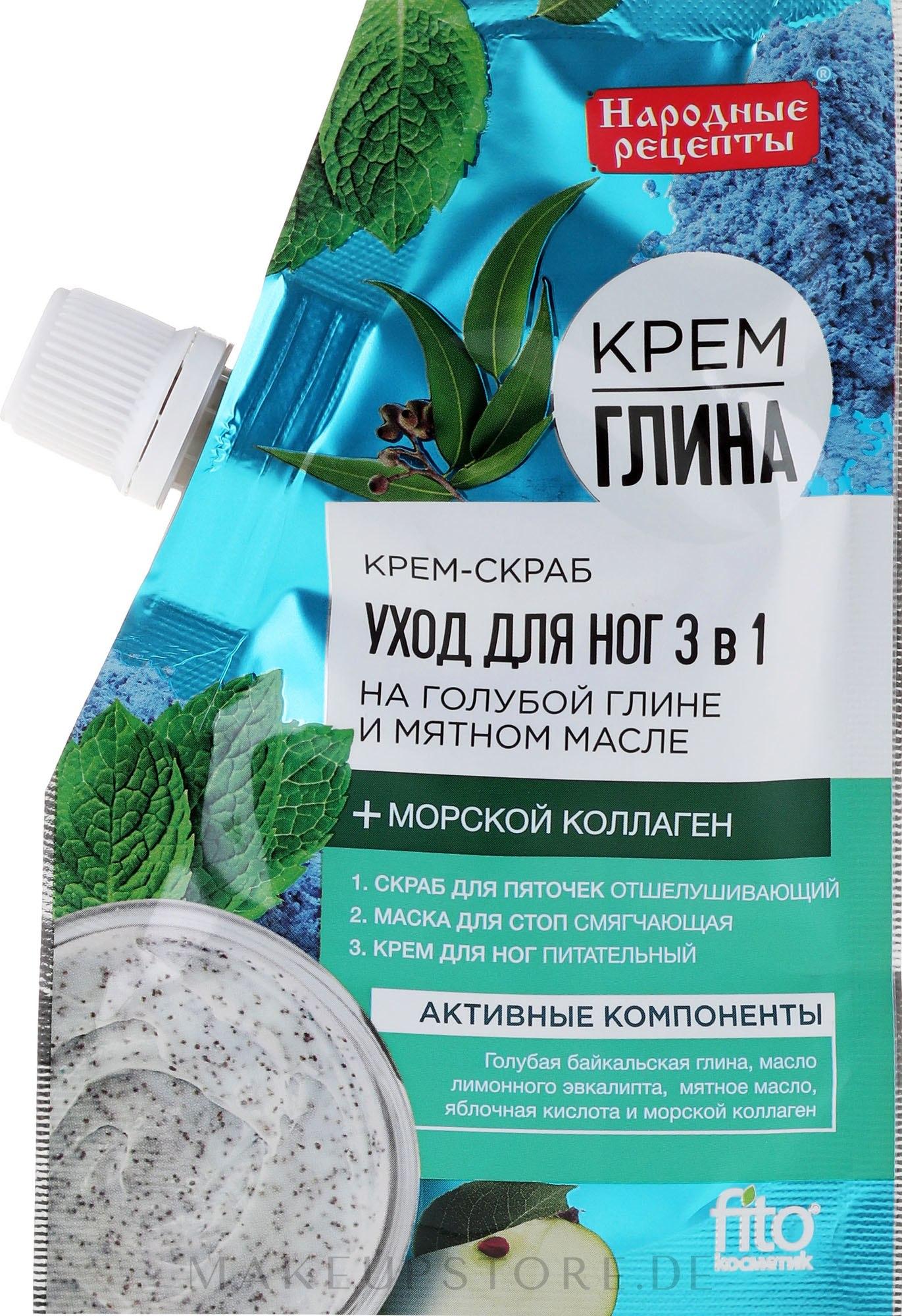 Fuß-Cremepeeling mit blauem Ton und Minzöl 3in1 - Fito Kosmetik Volksrezepte — Bild 50 ml