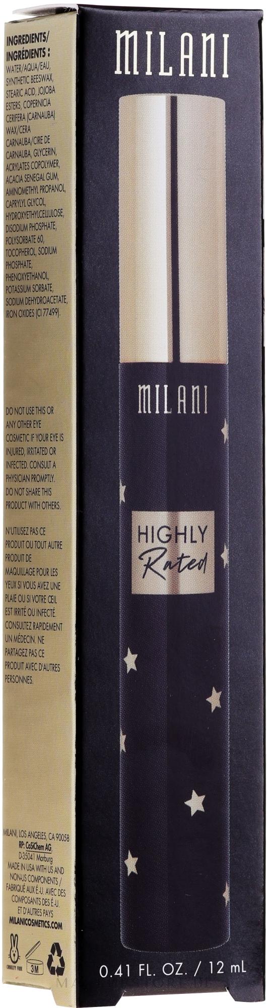 10in1 Mascara für voluminöse Wimpern - Milani Highly Rated 10-in-1 Volume Mascara — Bild 111 - Black Noir