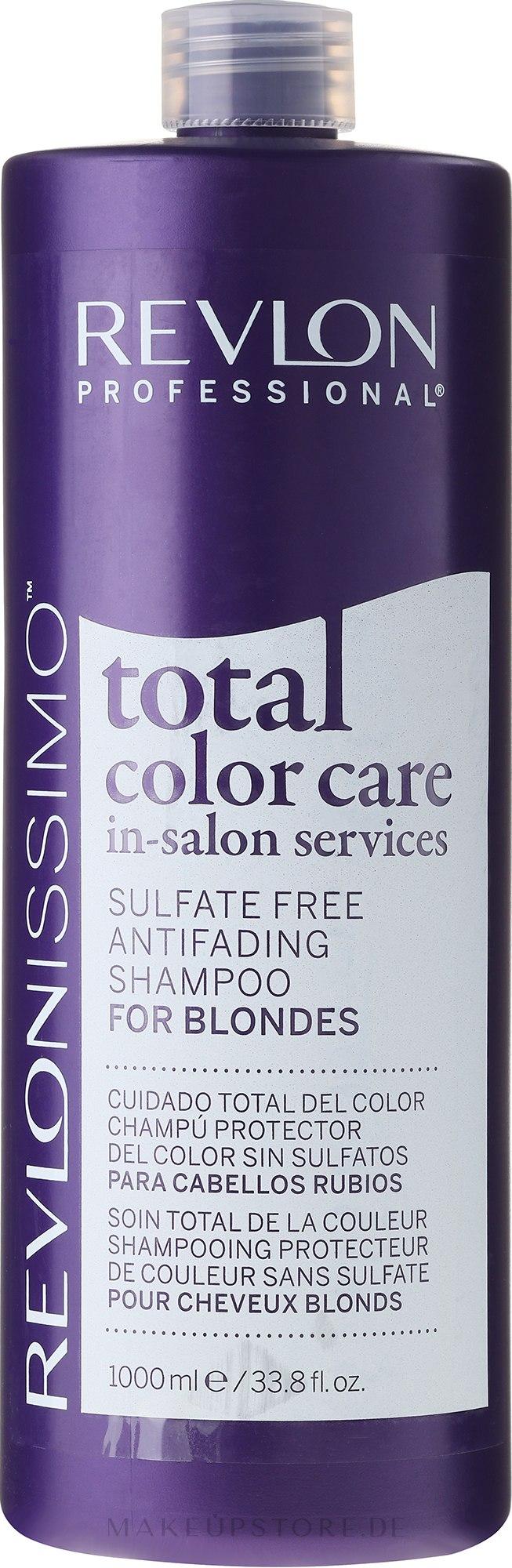 Sulfatfreies Shampoo gegen Farbverlust für blonde und weiße Haare - Revlon Professional Revlonissimo Total Color Care Antifading Shampoo For Blondes — Bild 1000 ml