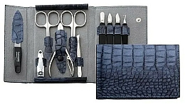Düfte, Parfümerie und Kosmetik Maniküre-Set 10-tlg. mattblau mit Krokodilmuster - DuKaS Premium Line PL 252MK