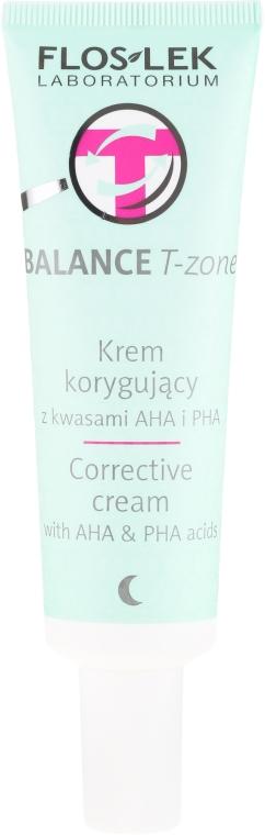 Korrigierende Nachtcreme für die T-Zone mit AHA- und PHA-Säuren - Floslek Balance T-Zone Corrective Cream — Bild N2