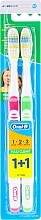 Düfte, Parfümerie und Kosmetik Zahnbürste mittel 1 2 3 Maxi Clean rosa, grün 2 St. - Oral-B 1 2 3 Maxi Clean 40 Medium