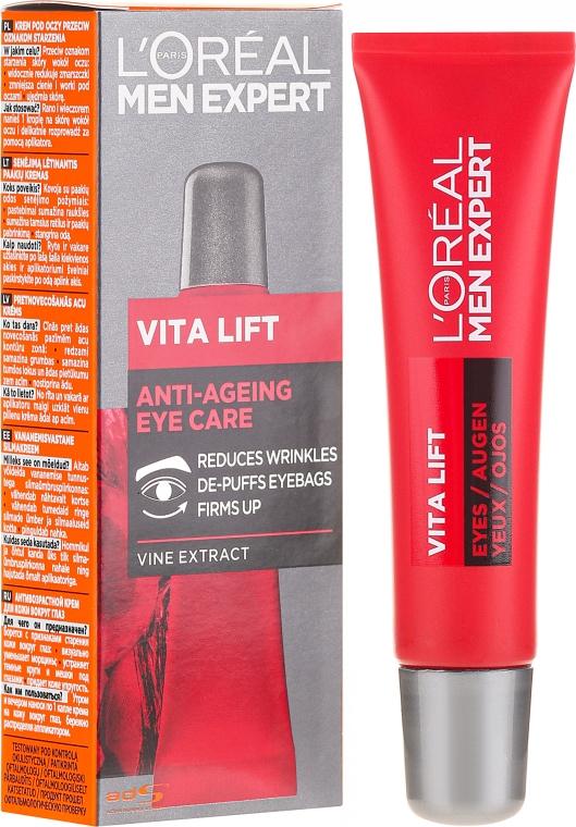 Augenkonturcreme gegen Augenringe und Tränensäcke mit Weinrebenextrakt - L'Oreal Paris Men Expert Vita Lift Eye Cream