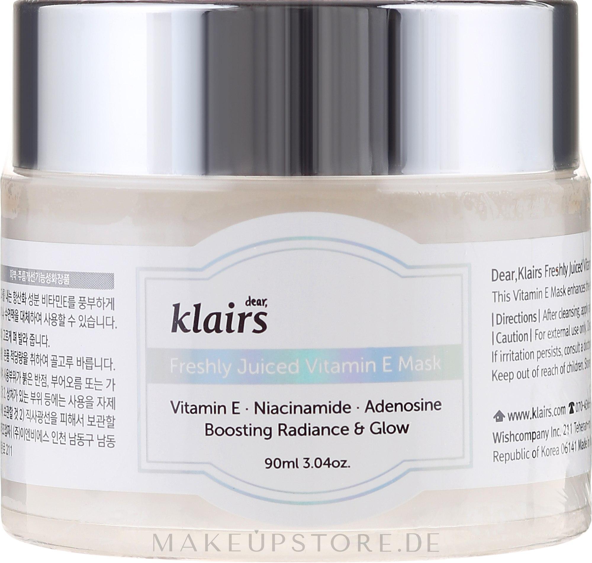 Verjüngende Gesichtsmaske mit Vitamin E und Niacinamid - Klairs Freshly Juiced Vitamin E Mask — Bild 90 ml