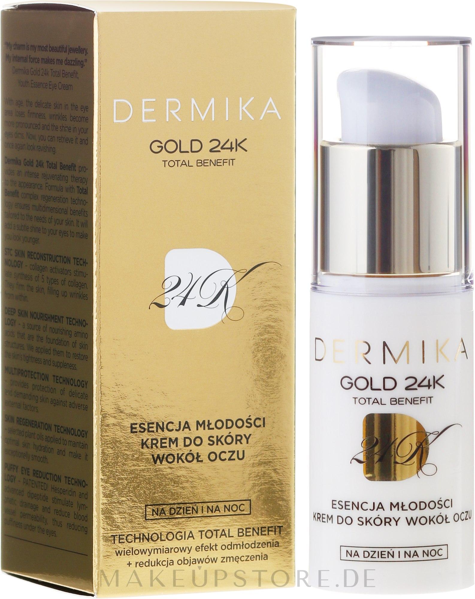 Creme für die Augenpartie - Dermika Gold 24 Eye Cream — Bild 15 ml