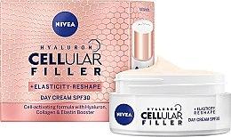 Düfte, Parfümerie und Kosmetik Tagescreme mit Hyaluronsäure und Kollagen für mehr Elastizität SPF 30 - Nivea Hyaluron Cellular Filler +Elasticity-Reshape Day Cream SPF30