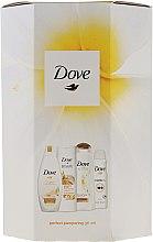 Düfte, Parfümerie und Kosmetik Körperpflegeset - Dove Perfect Pampering (Duschgel 250ml + Körperlotion 250ml + Shampoo 250ml + Deospray 150ml)