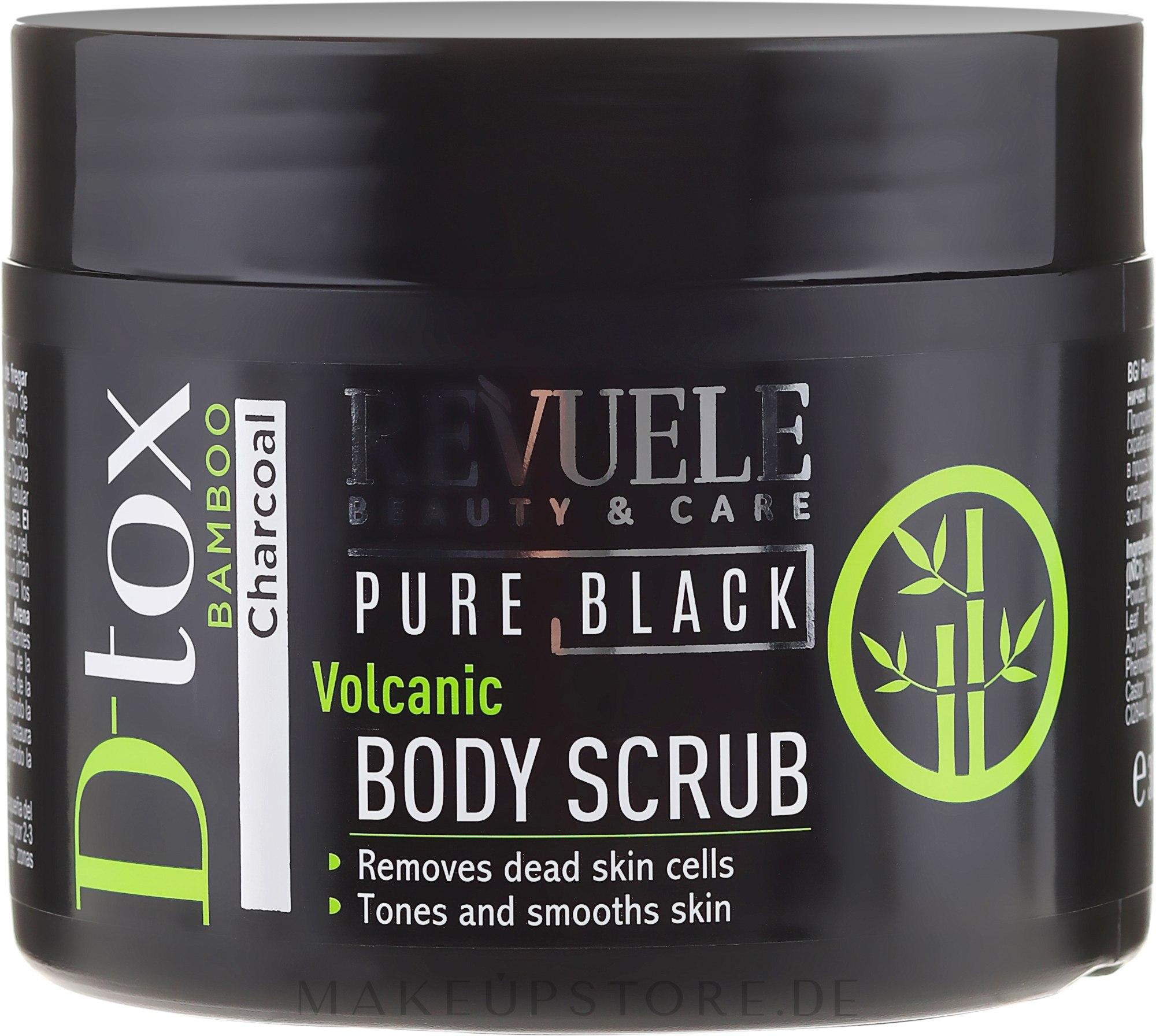 Regenerierendes Körperpeeling mit Bambuskohle und Aloe Vera - Revuele Pure Black Detox Volcanic Body Scrub — Bild 300 ml