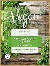 Düfte, Parfümerie und Kosmetik Feuchtigkeitsspendende und normalisierende Tuchmaske für das Gesicht mit Grünkohlextrakt, Vitamin A und E - Lomi Lomi Vegan Mask