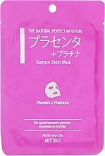Düfte, Parfümerie und Kosmetik Tuchmaske für das Gesicht mit Plazenta und Nanopartikeln aus Platin - Mitomo Essence Sheet Mask Placenta + Platinum