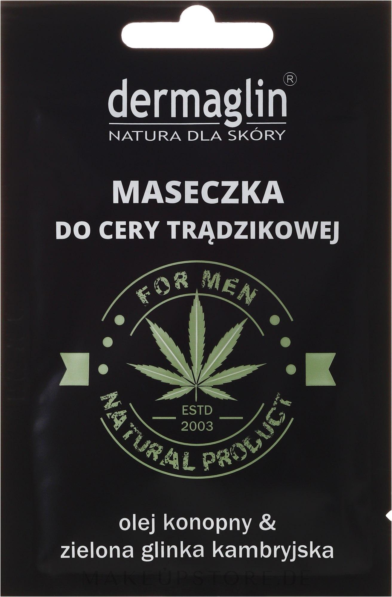 Gesichtsmaske für Männer mit Hanföl und grünem Ton - Dermaglin For Men Natural Product — Bild 20 g