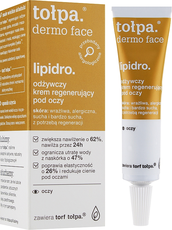 Regenerierende Augenkonturcreme - Tolpa Dermo Face Lipidro Nourishing Regenerating Eye Cream — Bild N2