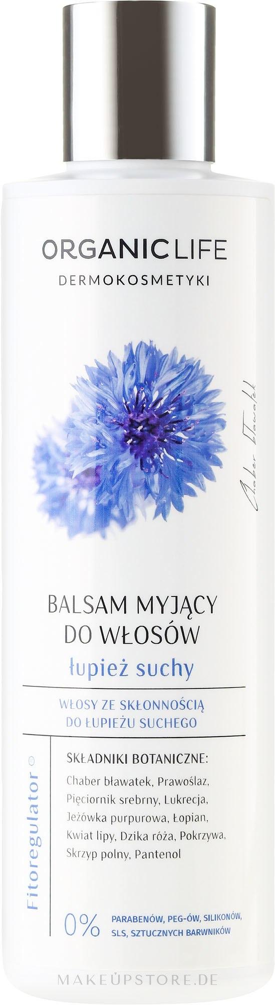 Haarspülung gegen trockene Schuppen mit Kornblumenextrakt - Organic Life Dermocosmetics Hair Cleansing Balm — Bild 250 g